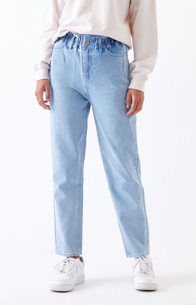 Busted Blue Paperbag Waist Mom Jeans