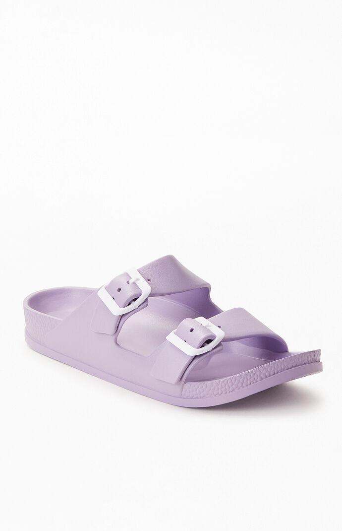 Women's Rubber Double Buckle Slide Sandals