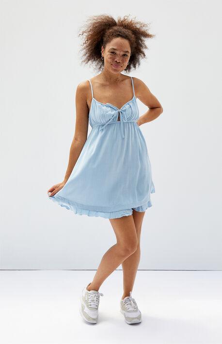 Linen Tie Front Babydoll Dress