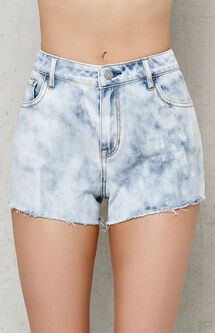 Reef Blue Acid Wash Cutoff Denim Shorts