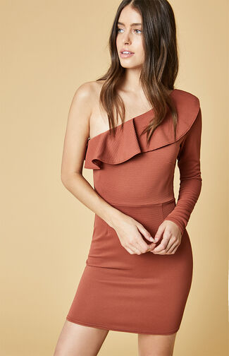 One Shoulder Frill Mini Dress