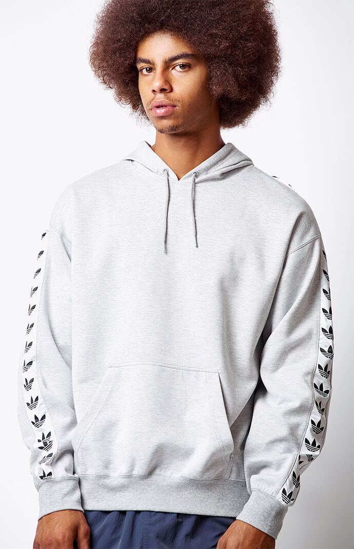 adidas Mens TNT Tape Heather Grey Pullover Hoodie 6564561
