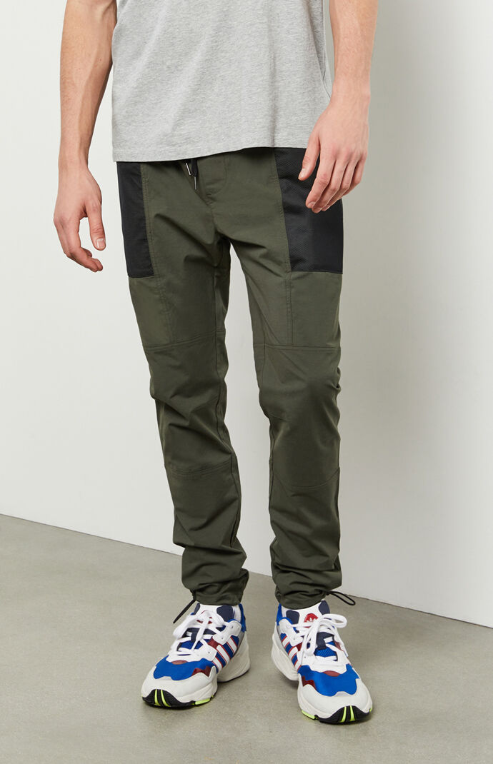 Utility Green Slim Nylon Cargo Pants