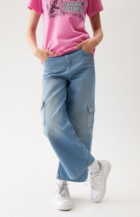 Medium Blue Cargo Wide Leg Jeans