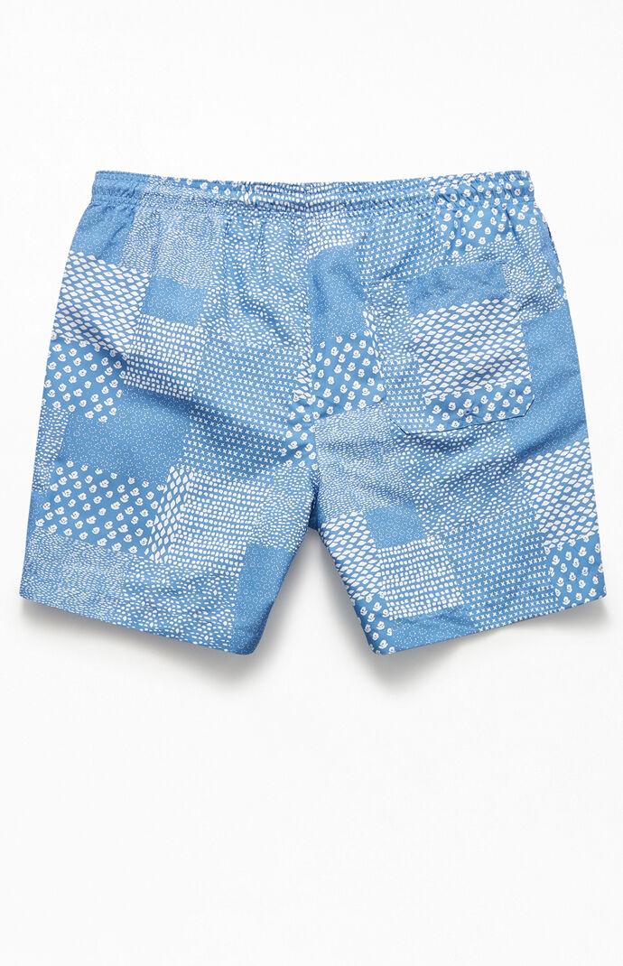 "Blue Patchwork 17"" Swim Trunks"