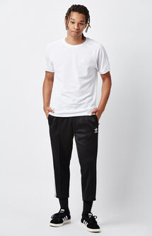 Relaxed Black & White Crop Track Pants