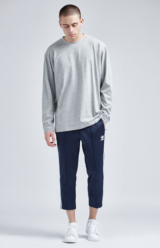 Relaxed Navy Crop Track Pants