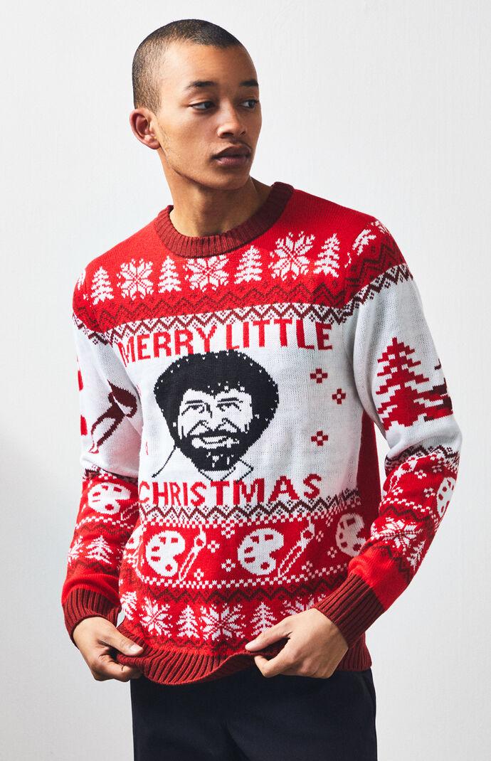 Bob Ross Crew Neck Christmas Sweater Pacsun