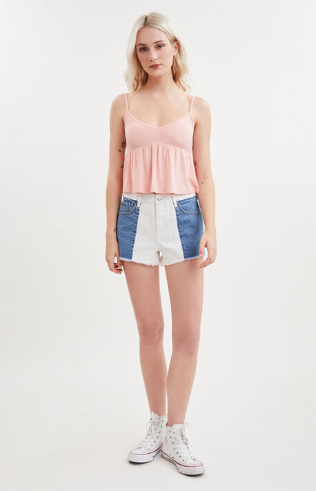Ecru Cloud High Waisted Denim Festival Shorts