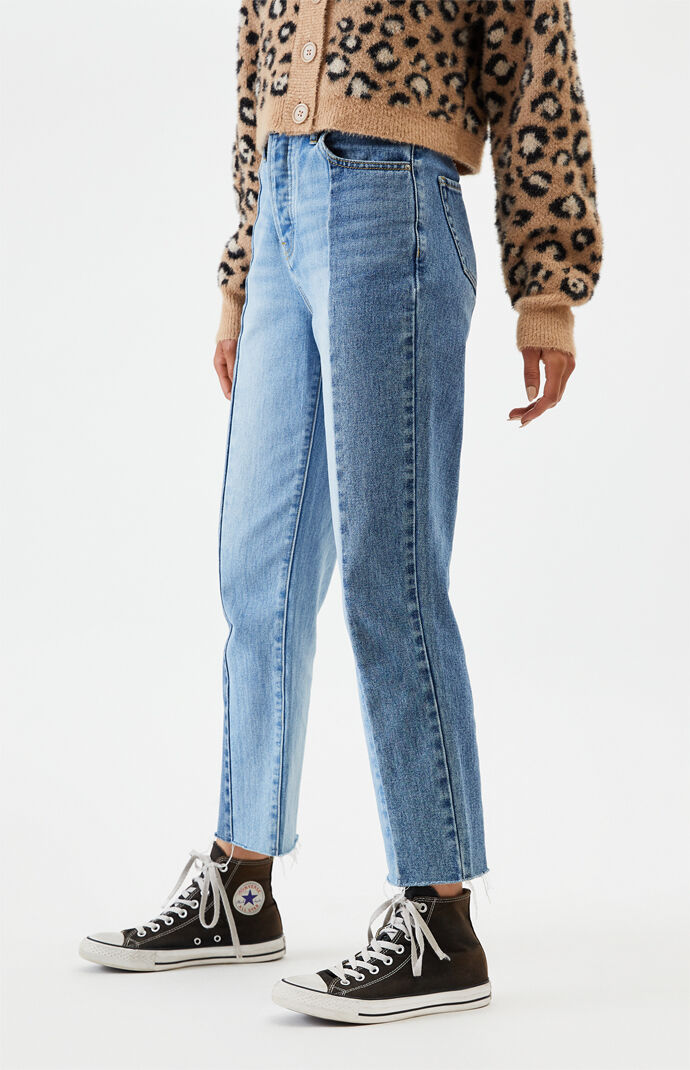 Two Panel High Waisted Straight Leg Jeans