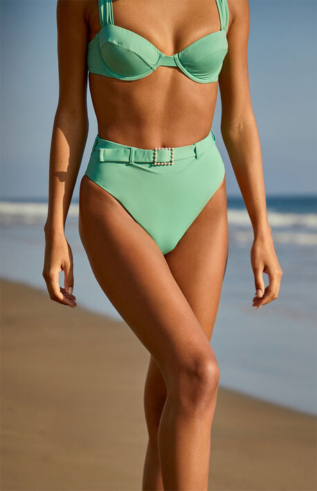 Green Emily High Waisted Bikini Bottom