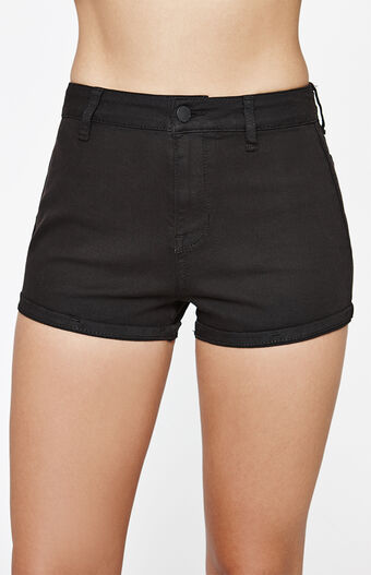 Super High Rise Black Denim Shorts