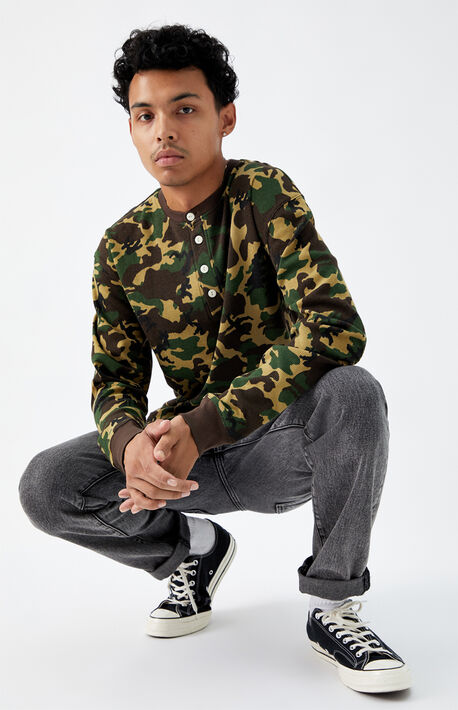 Duck Camo Thermal Henley Long Sleeve T-Shirt