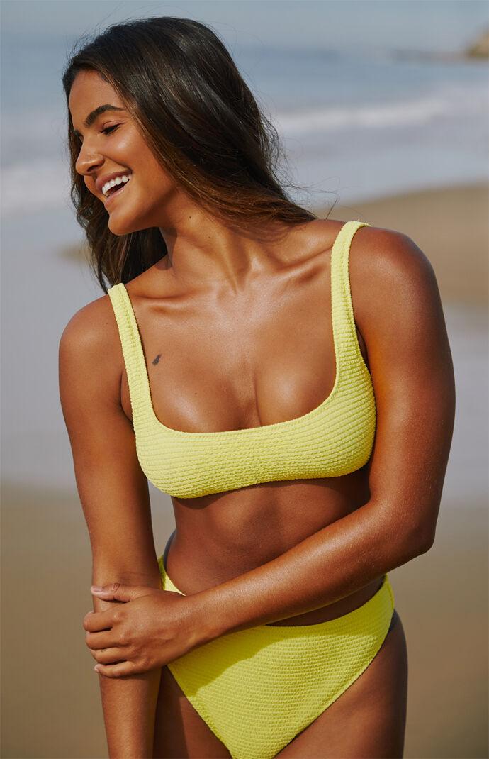 Yellow Bianca Scrunch Square Neck Bikini Top