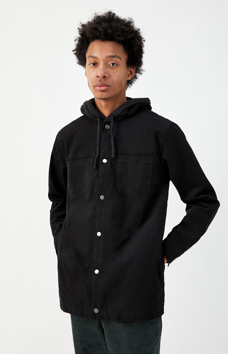 Black Hooded Shacket
