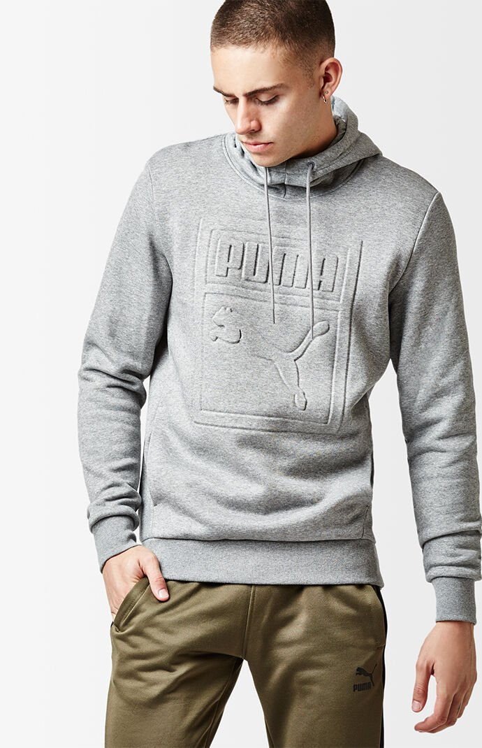 Puma Archive Embossed Heather Grey Pullover Hoodie 6516553