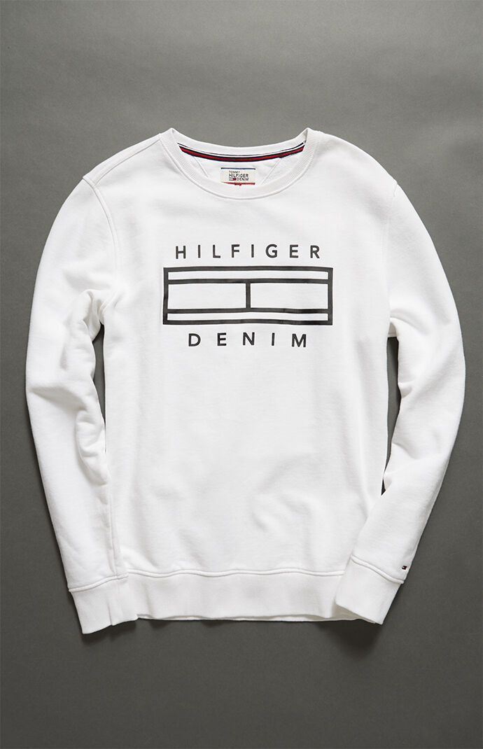Tommy Hilfiger Outline Crew Neck Sweatshirt - White 7075484