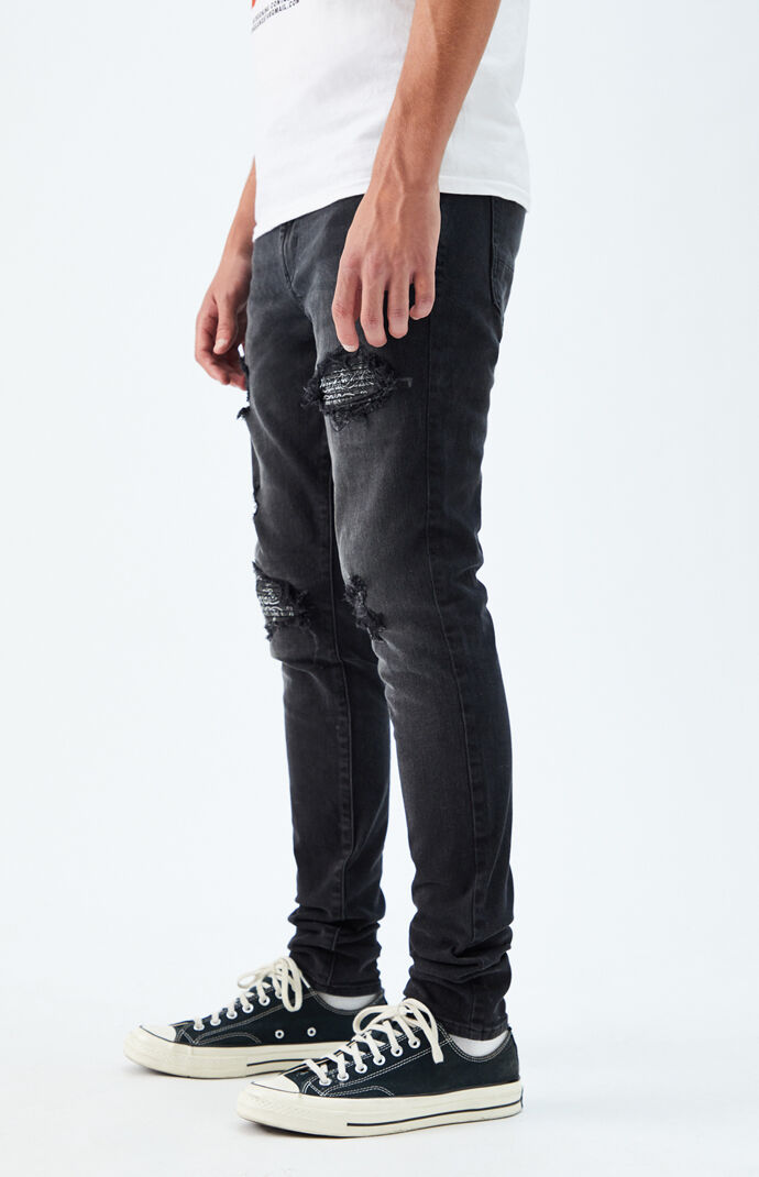 Black Ripped Stacked Skinny Jeans
