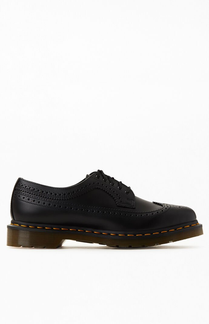 3989 Yellow Stitch Brogue Leather Shoes