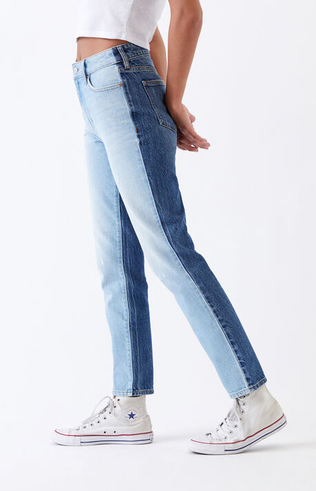 Light & Dark Paneled Mom Jeans