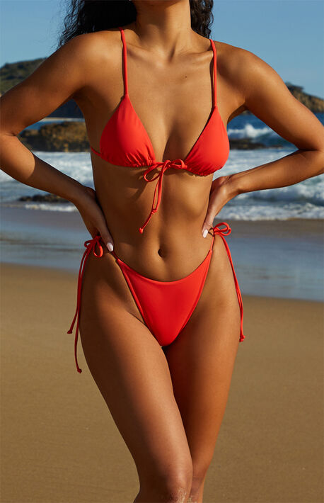 Red Monterey Side Tie Bikini Bottom