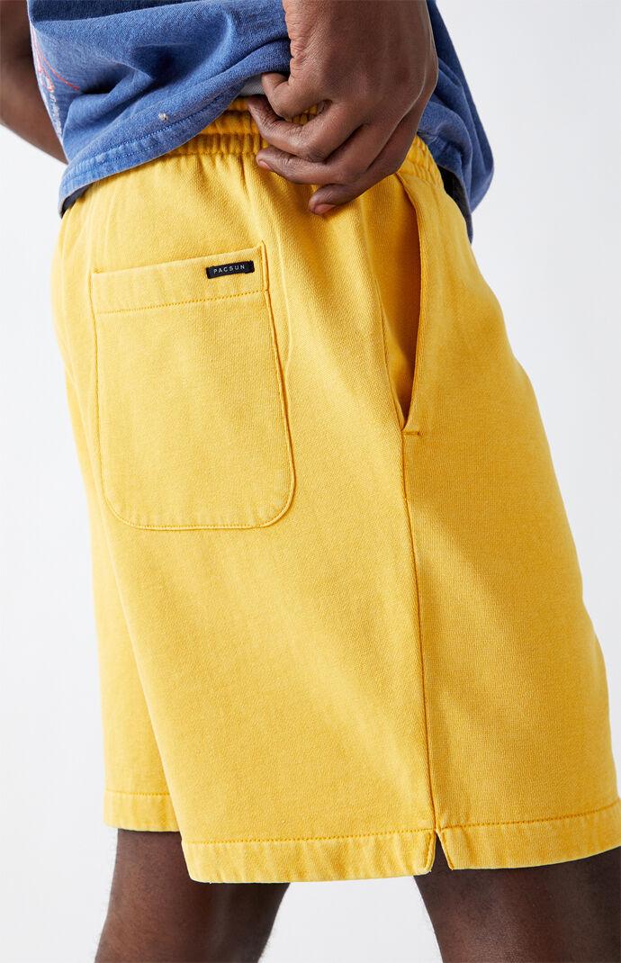 Gold Vintage Wash Fleece Drawstring Volley Shorts