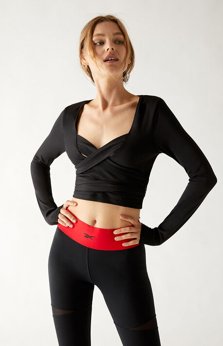 Recycled Cardi Long Sleeve Cropped Top