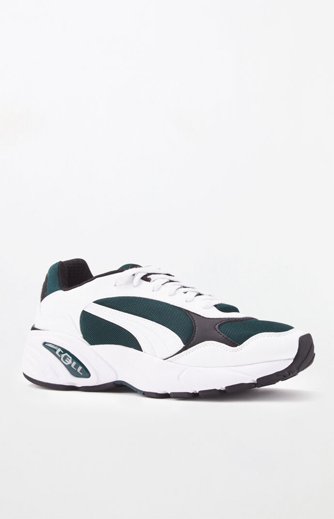 White & Green CELL Viper Shoes