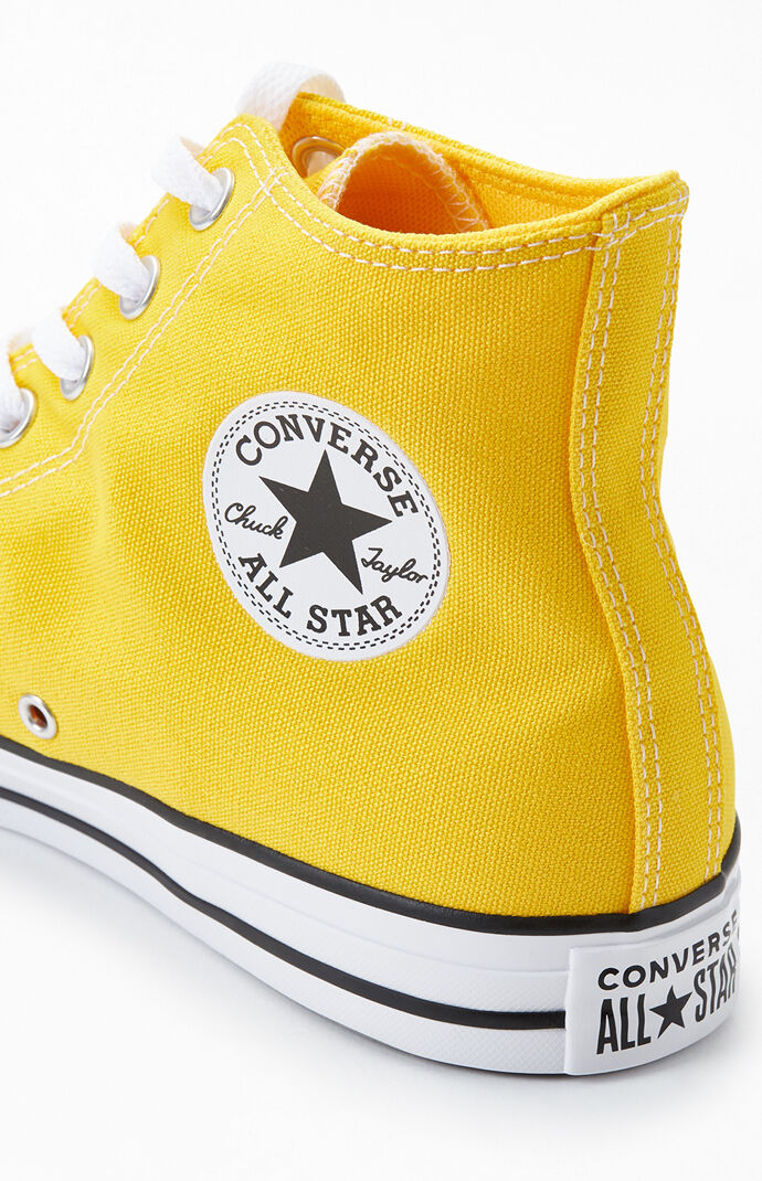 Yellow Chuck Taylor All Star Smile High Top Shoes
