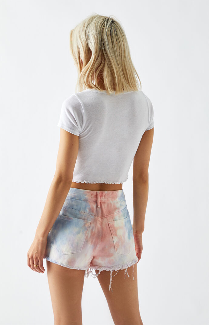 Multicolored High Waisted Denim Festival Shorts
