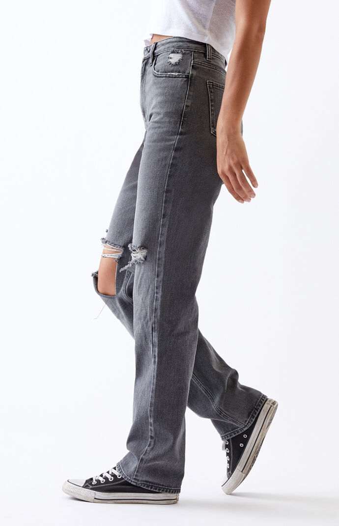 Washed Black Ripped '90s Boyfriend Jeans