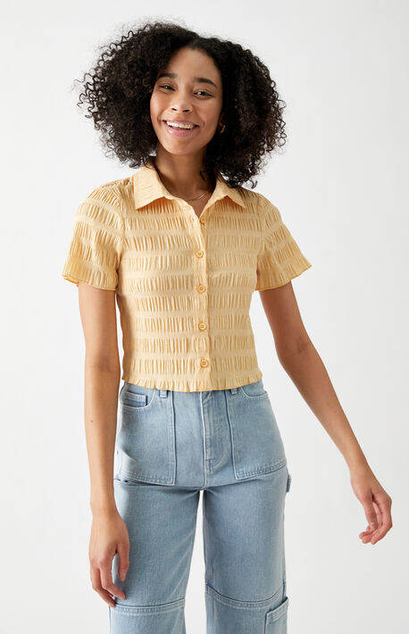 Shirred Smocked Button Down Shirt