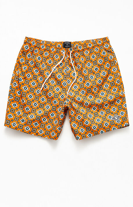 "Eco Gold Ditsy 17"" Swim Trunks"