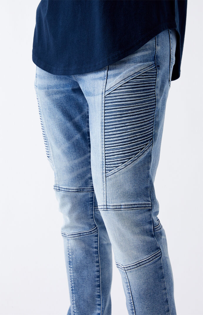 Light Biker Stacked Skinny Jeans
