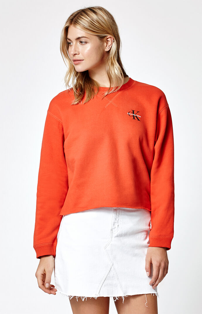 Calvin Klein Boyfriend Raw Edge Sweatshirt - RED 6440531