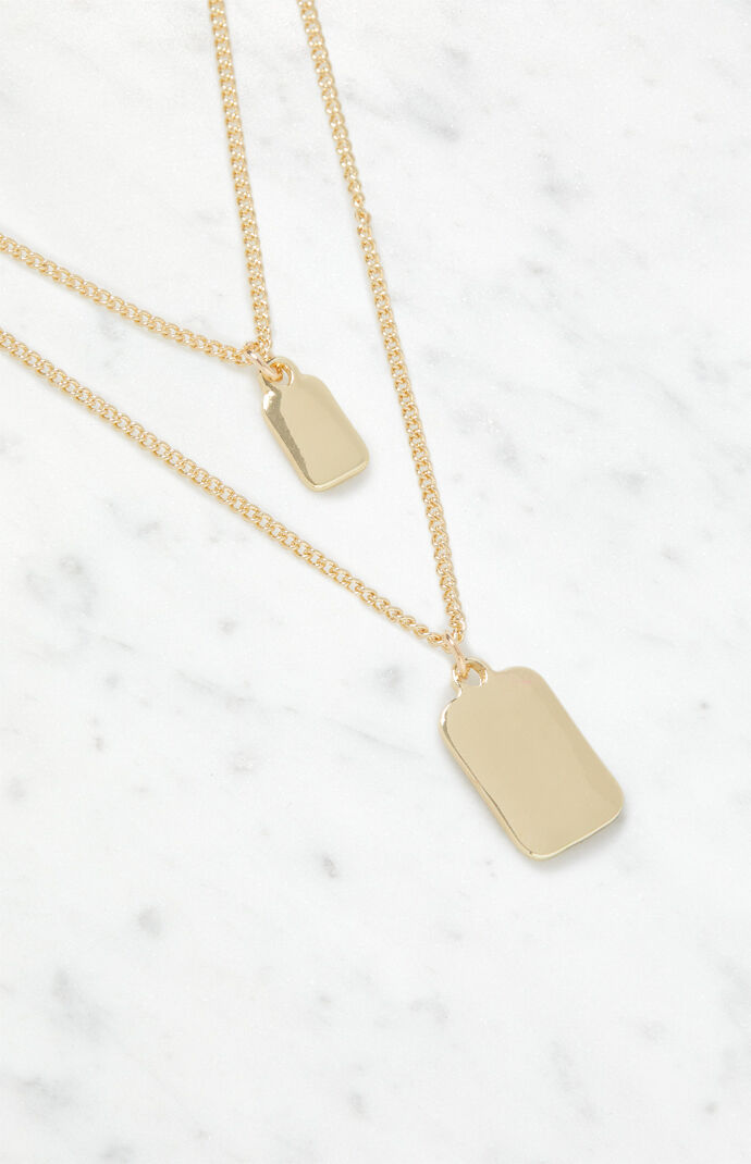 Dog Tag Layered Necklace