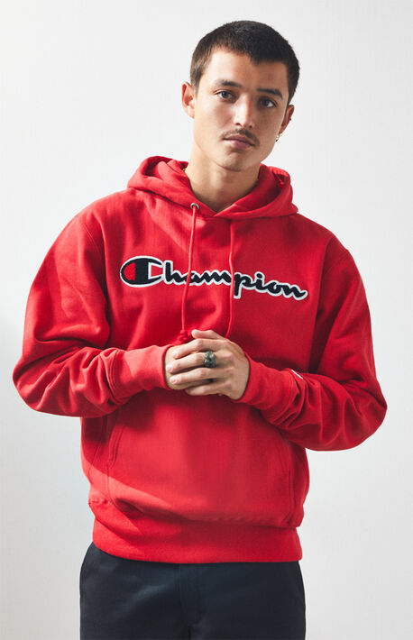 c924a6b2bb Reverse Weave Chenille Script Pullover Hoodie