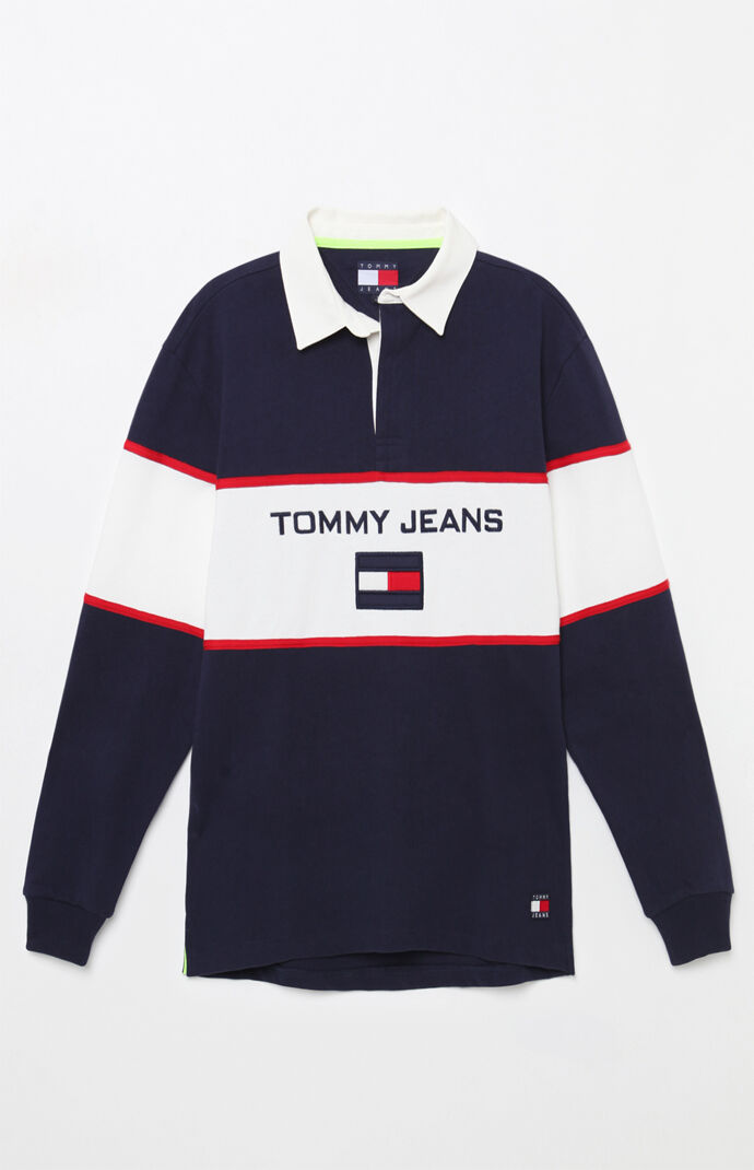 b3f57ccb7d8 Tommy Jeans 90s Blocked Long Sleeve Rugby Shirt Pacsun