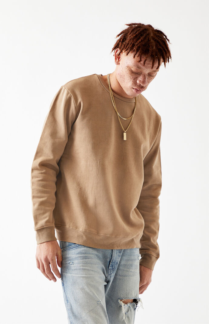 Brown Vintage Wash Crew Neck Sweatshirt