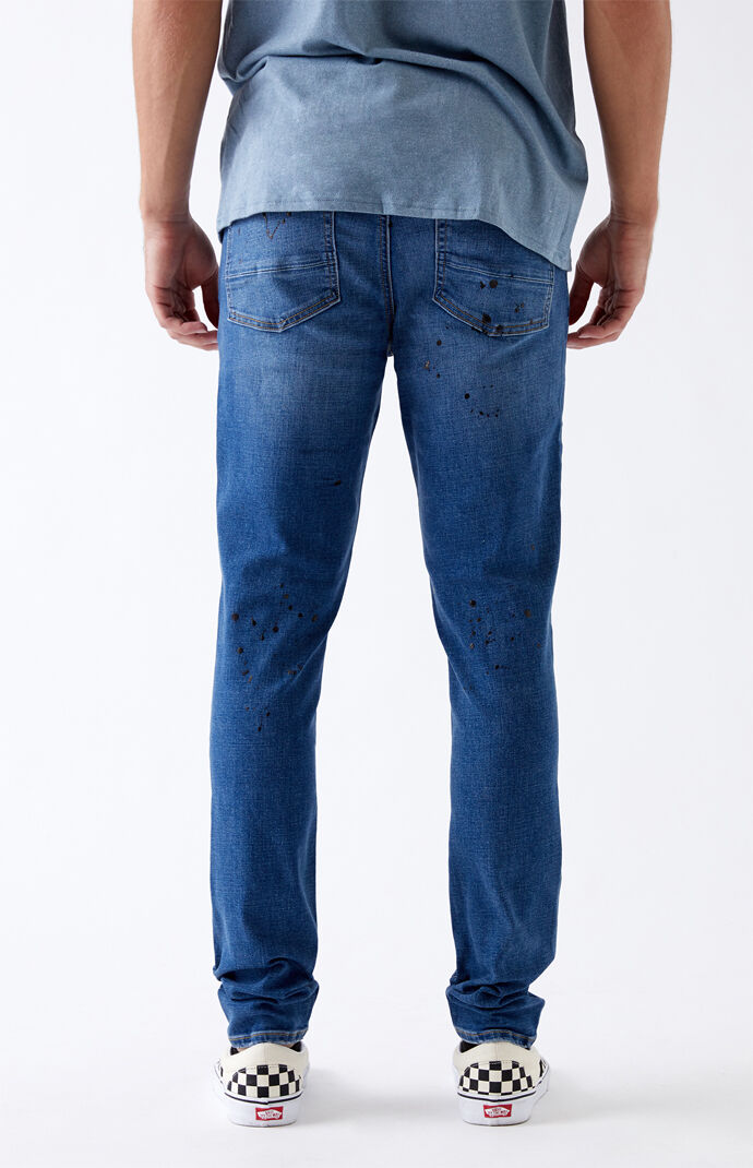 Medium Paint Splatter Stacked Skinny Jeans
