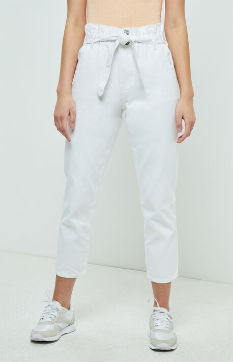 Daisy White Paperbag Mom Jeans