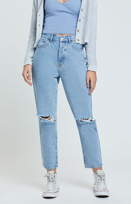 Stone Marble High Waisted Straight Leg Jeans