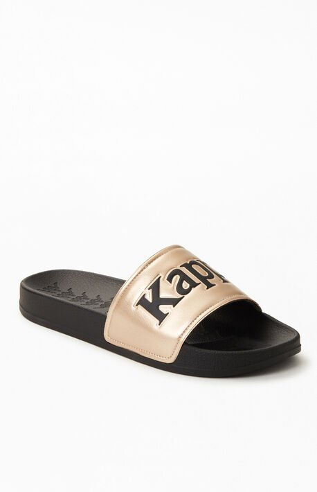 Black & Gold 222 Banda Adam 9 Slide Sandals