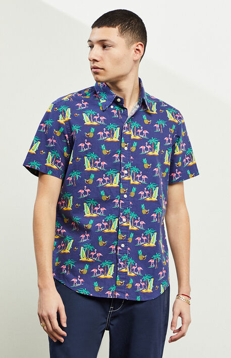 Coconut Flamingos Short Sleeve Button Up Shirt
