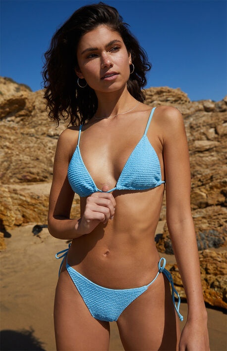 Eco Blue Kinga Scrunch Triangle Bikini Top