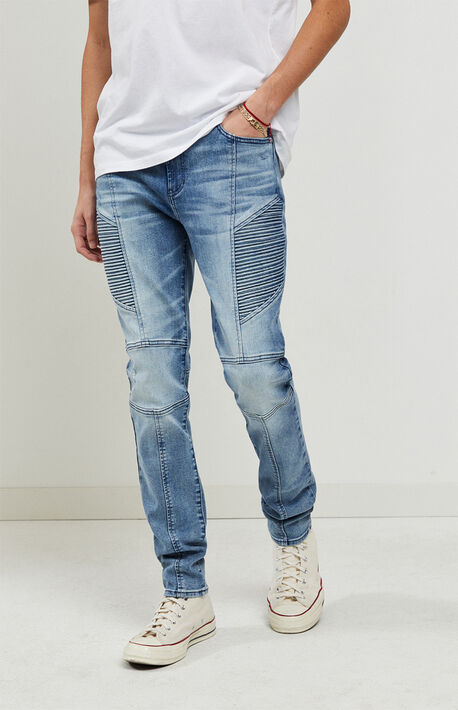 Light Indigo Moto Stacked Skinny Jeans
