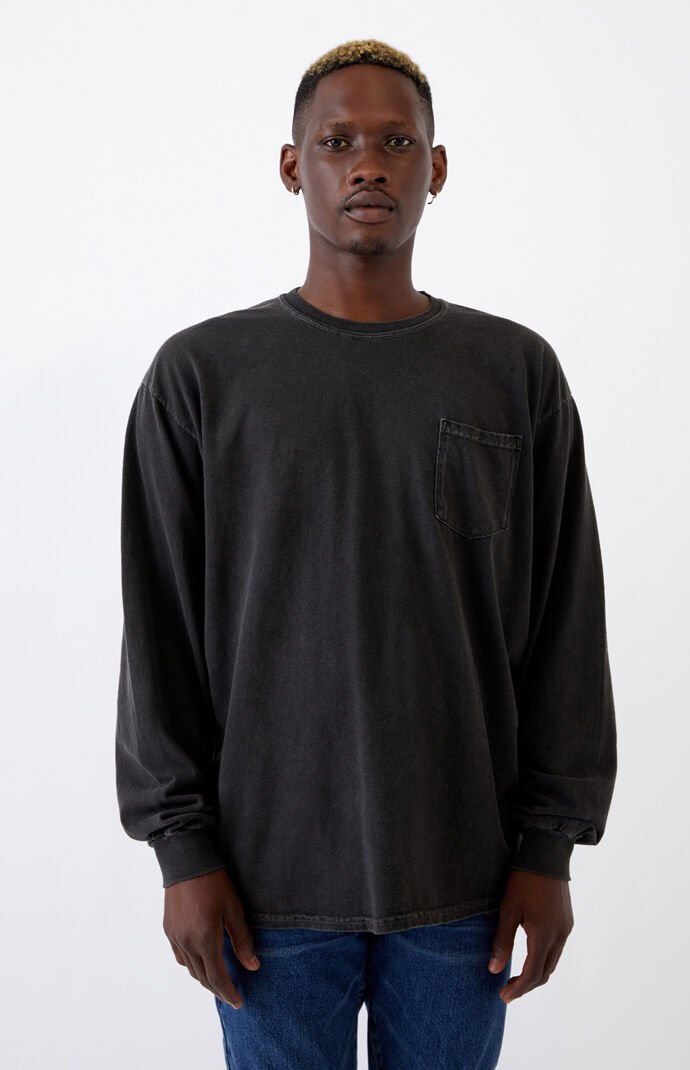 Black Vintage Wash Pocket Long Sleeve T-Shirt