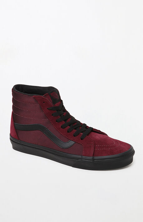 ba13d7b110 Burgundy Sk8-Hi Metallic Twill Shoes
