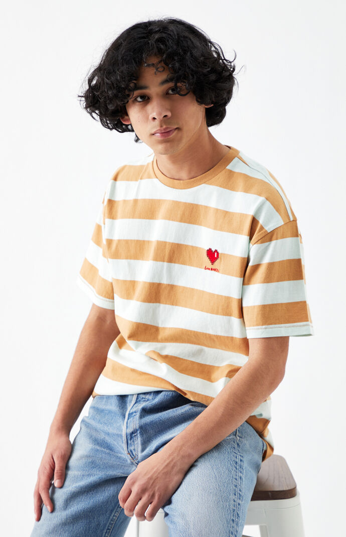 Love Hurts Striped Regular T-Shirt