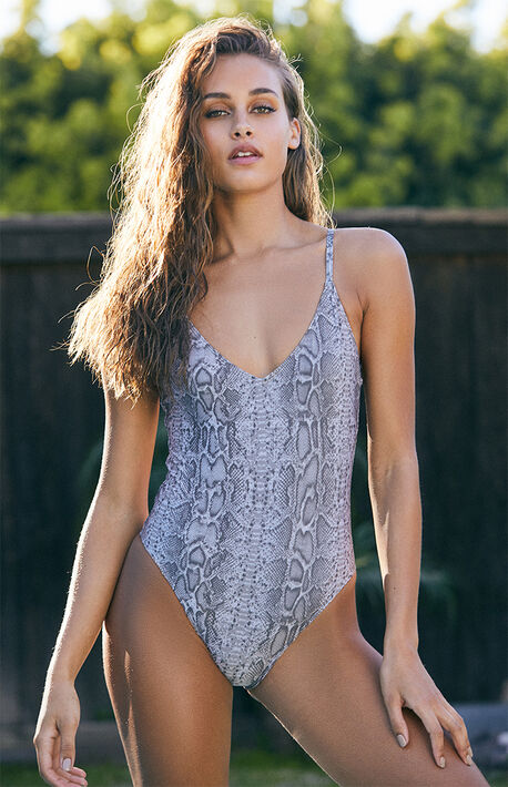 22396846851 Snake Print V-Neck One Piece Swimsuit